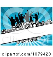 Clipart Silhouetted Dancers Over Blue Rays Circles And Copyspace Royalty Free Vector Illustration