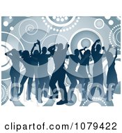 Clipart Blue Silhouetted Dancers Over Circles And Spirals Royalty Free Vector Illustration
