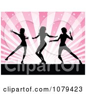 Clipart Silhouetted Female Dancers Over Pink Rays Royalty Free Vector Illustration
