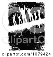 Clipart Silhouetted Dancers Over Black And White Floral Grunge Royalty Free Vector Illustration