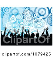 Clipart Silhouetted Dancers Over Grungy Blue Circles Royalty Free Vector Illustration