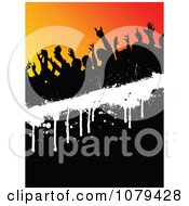 Clipart Silhouetted Dancers On Black Orange And White Royalty Free Vector Illustration