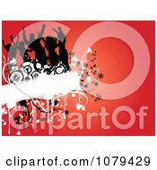 Clipart Silhouetted Dancers On A Floral Grunge Text Box Over Red Royalty Free Vector Illustration