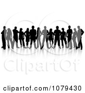 Clipart Black Silhouetted Group Of People With Reflections 1 Royalty Free Vector Illustration