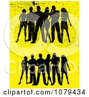 Silhouetted Group Of People On Yellow With Scratches And Without
