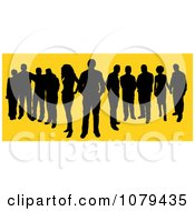 Black Silhouetted Group Of People Over Yellow