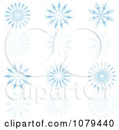 Clipart Set Of Blue Snowflakes And Reflections Royalty Free Vector Illustration by KJ Pargeter