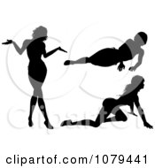 Clipart Silhouetted Sexy Women Crawling Resting And Shrugging Royalty Free Vector Illustration by KJ Pargeter