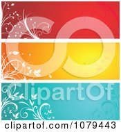 Clipart Red Orange And Blue Floral Website Banners Royalty Free Vector Illustration