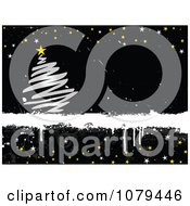 Clipart Grungy Horizontal Black Christmas Background With A Silver Tree And Stars Royalty Free Vector Illustration