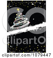 Clipart Grungy Vertical Black Christmas Background With A Silver Tree And Stars Royalty Free Vector Illustration