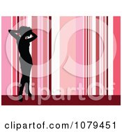 Clipart Silhouetted Sexy Woman Over Pink Stripes Royalty Free Vector Illustration