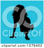 Clipart Sexy Crawling Silhouetted Woman On Blue Royalty Free Vector Illustration