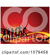 Clipart Silhouetted Dancers On Swooshes Over Red Royalty Free Vector Illustration