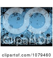 Blue Floral Winter Grunge Background With Flowers And Snowflakes