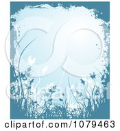 Clipart Blue Floral Grunge Background With Tall Plants And Copyspace Royalty Free Vector Illustration