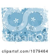 Clipart Blue Floral Grunge Background With Tall Flowers And White Edges Royalty Free Vector Illustration