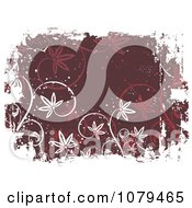Clipart Maroon Floral Grunge Background With White Edges Royalty Free Vector Illustration