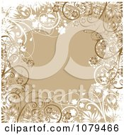 Clipart Tan Floral Grunge Background With Flowers Royalty Free Vector Illustration