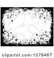 Clipart Black And White Floral Grunge Background 1 Royalty Free Vector Illustration