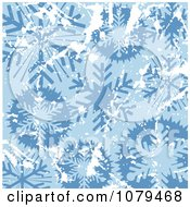 Clipart Grungy Blue Christmas Snowflake Winter Background 3 Royalty Free Vector Illustration