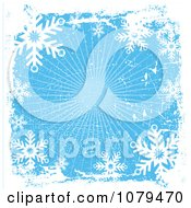 Clipart Grungy Blue Christmas Snowflake Winter Background 4 Royalty Free Vector Illustration