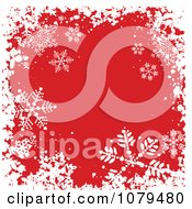 Clipart Grungy Red Christmas Snowflake Winter Background Royalty Free Vector Illustration