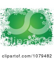 Clipart Grungy Green Christmas Snowflake Winter Background Royalty Free Vector Illustration