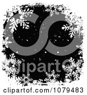 Clipart Grungy Black And White Christmas Snowflake Winter Background Royalty Free Vector Illustration