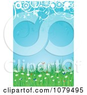 Clipart Summer Background With Butterflies Wildflowers Circles And Foliage Royalty Free Vector Illustration by KJ Pargeter