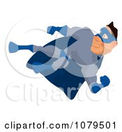 Clipart Blue Super Hero Kicking 3 Royalty Free Illustration