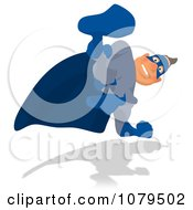Clipart Blue Super Hero Looking Down Royalty Free Illustration