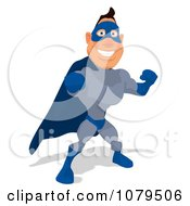 Clipart Blue Super Hero Punching 1 Royalty Free Illustration
