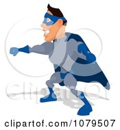 Clipart Blue Super Hero Punching 2 Royalty Free Illustration