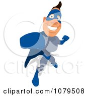 Clipart Blue Super Hero Punching 3 Royalty Free Illustration