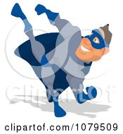Clipart Blue Super Hero Kicking 1 Royalty Free Illustration
