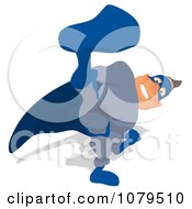 Clipart Blue Super Hero Kicking 2 Royalty Free Illustration