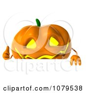 Clipart 3d Thumbs Up Jackolantern With A Blank Sign 1 Royalty Free CGI Illustration