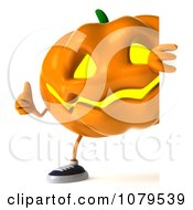 Clipart 3d Thumbs Up Jackolantern With A Blank Sign 2 Royalty Free CGI Illustration