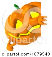 Clipart 3d Jackolantern Pointing To A Sign Royalty Free CGI Illustration