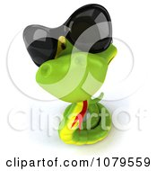Clipart 3d Green Snake Wearing Shades And Looking Up Royalty Free CGI Illustration