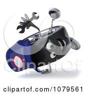 Clipart 3d Tire Mechanic Character Cartwheeling Royalty Free CGI Illustration