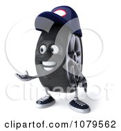 Clipart 3d Tire Mechanic Character Presenting Royalty Free CGI Illustration