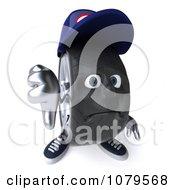 Clipart 3d Tire Mechanic Character Holding A Thumb Down 2 Royalty Free CGI Illustration by Julos