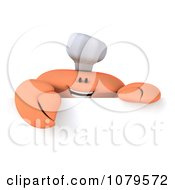 Clipart 3d Chef Crab With A Blank Sign 1 Royalty Free CGI Illustration