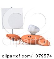 Clipart 3d Chef Crab With A Blank Sign 3 Royalty Free CGI Illustration