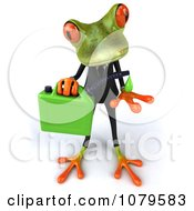 Clipart 3d Business Springer Frog With A Can Of Biofuel 1 Royalty Free CGI Illustration