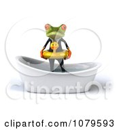 Clipart 3d Business Springer Frog Standing In A Tub With An Inner Tube 1 Royalty Free CGI Illustration