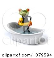 Clipart 3d Business Springer Frog Standing In A Tub With An Inner Tube 2 Royalty Free CGI Illustration