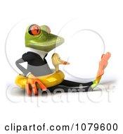 Clipart 3d Business Springer Frog Sitting In An Inner Tube Royalty Free CGI Illustration